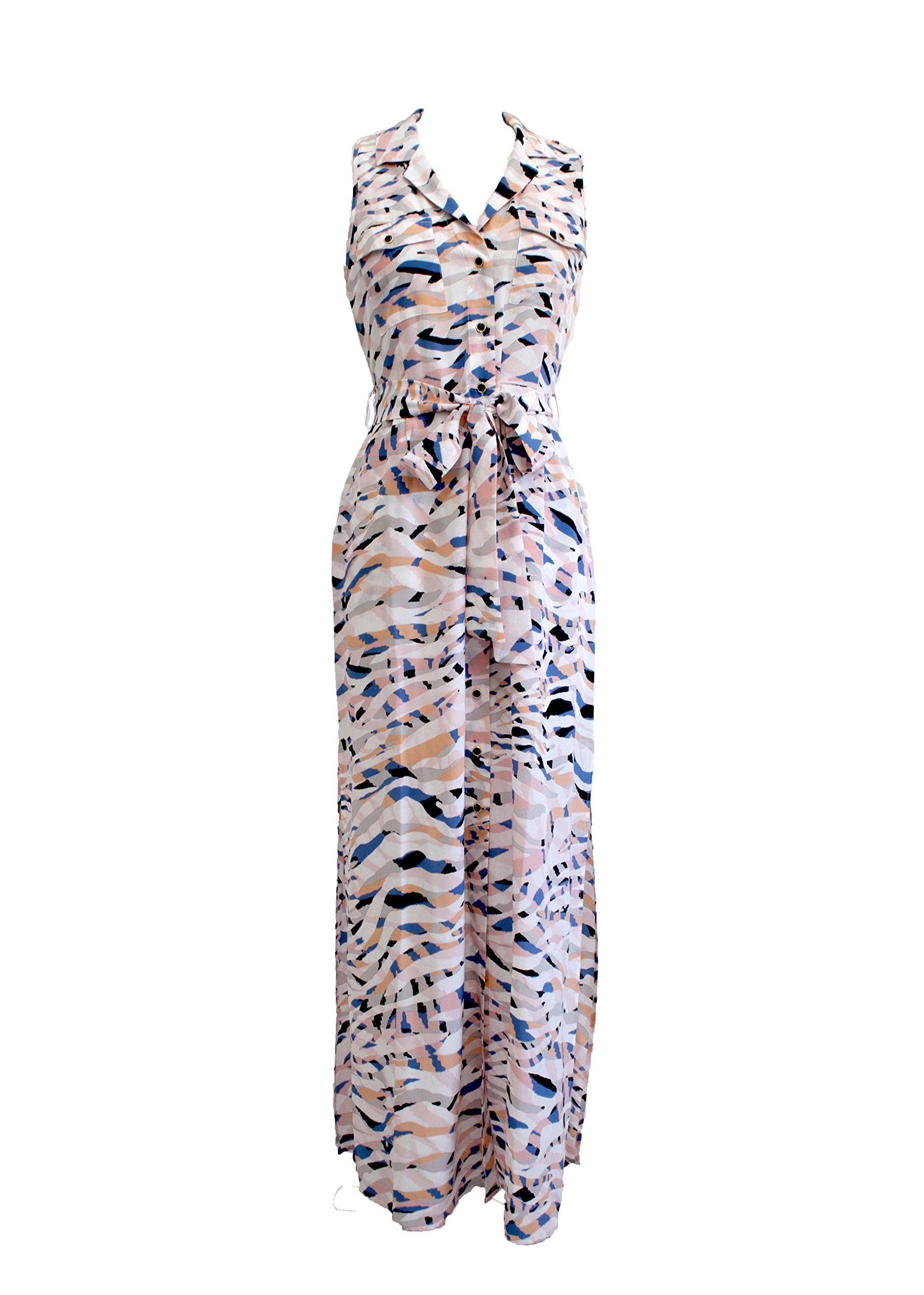 YUMI KIM Silk Button Through Maxi Side Slit Dress Hypnotize Print Small by Yumi Kim