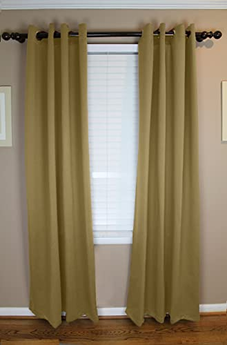 Calyx Interiors Blackout Grommet Curtain 2-Pack Set, 52 W X 84 H each, total Width 104 Inches, Khaki with Antique Bronze Grommets