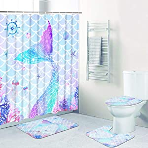 Ikfashoni 4 Pcs Mermaid Shower Curtain Set with Non-Slip Rugs, Toilet Lid Cover and Bath Mat, Colorful Coral Starfish Shower Curtains with 12 Hooks, Ocean Fabric Shower Curtains for Bathroom