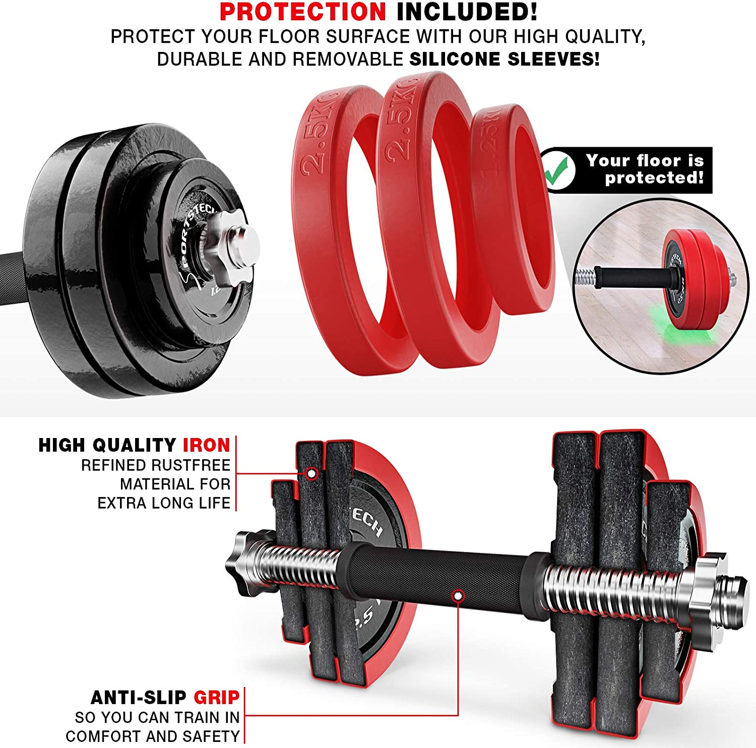Sportstech 2in1 innovative Dumbbell & Barbell Set with Silicone Cover, Weights Adjustable Dumbbells in 20kg / 30kg of Cast Iron and with Connecting ...