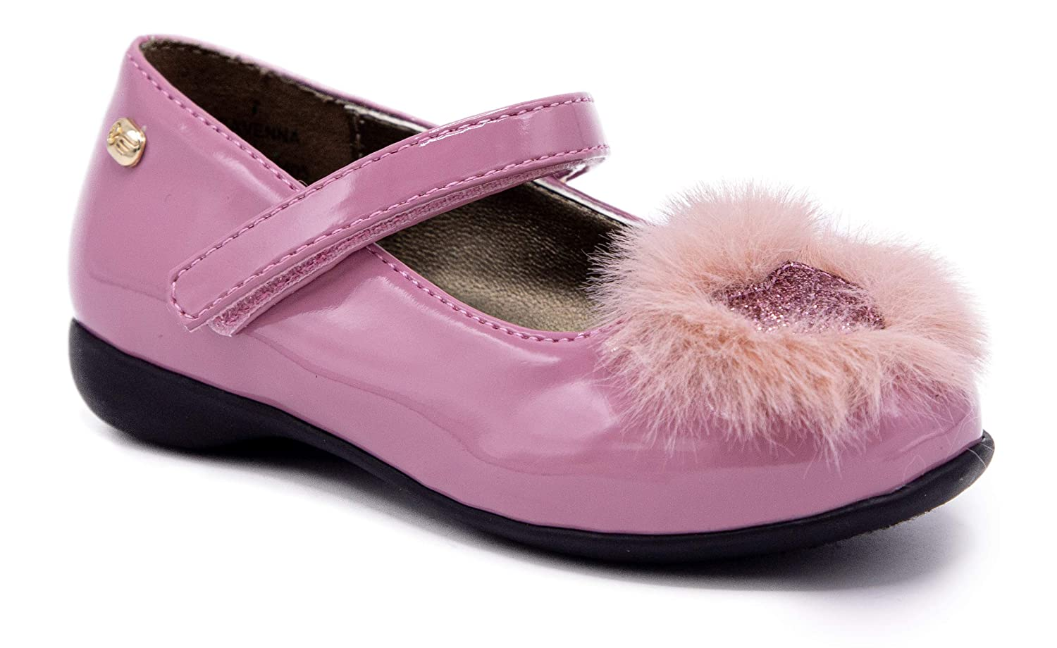 Naturino E Kids Poeta Girls Slip On Ballet Flat with Ankle Strap and Big Pom-Pom Dress Shoe Loafer