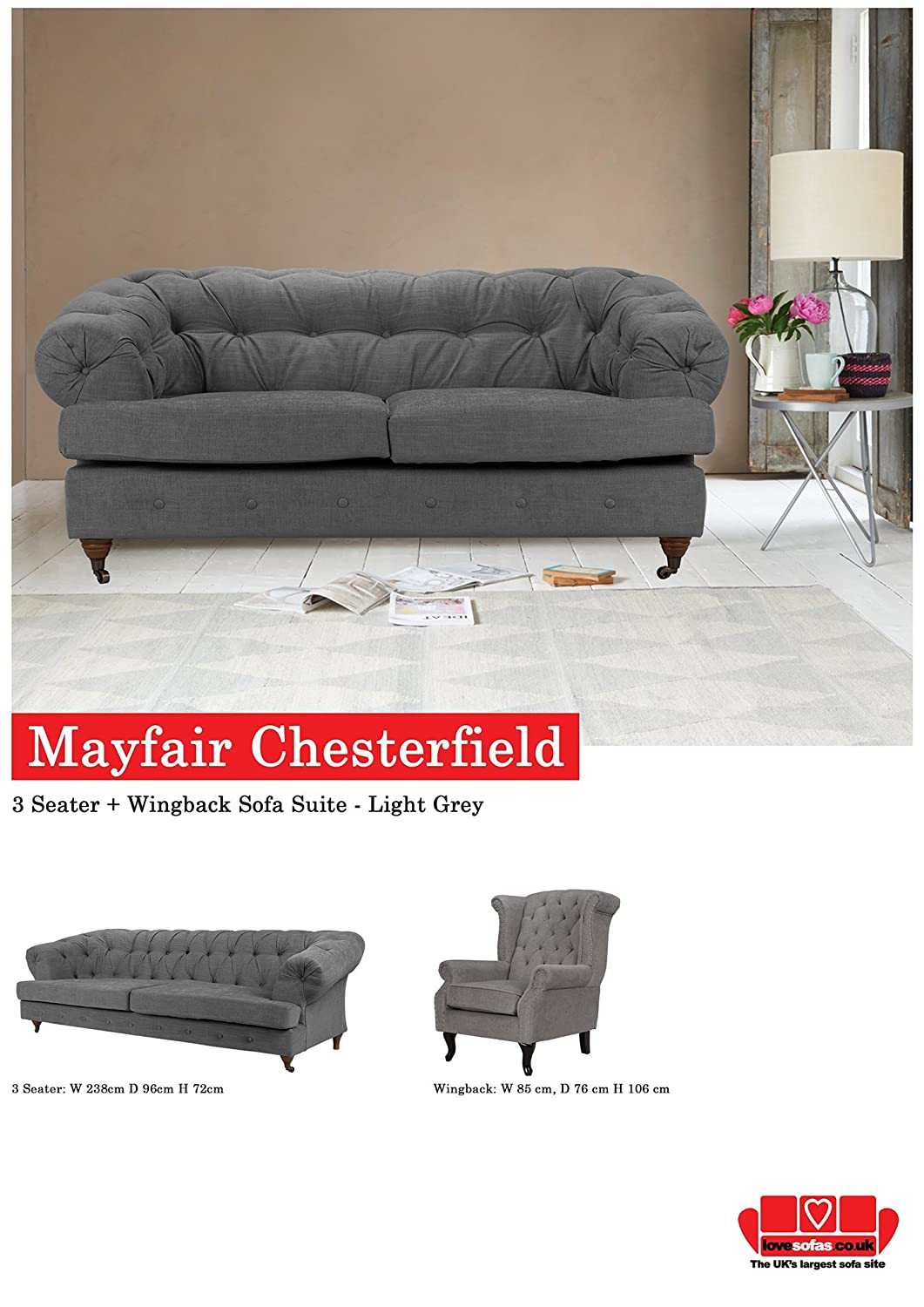Lovesofas Nuevo Mayfair Chesterfield 3 + WINGBACK sillón ...