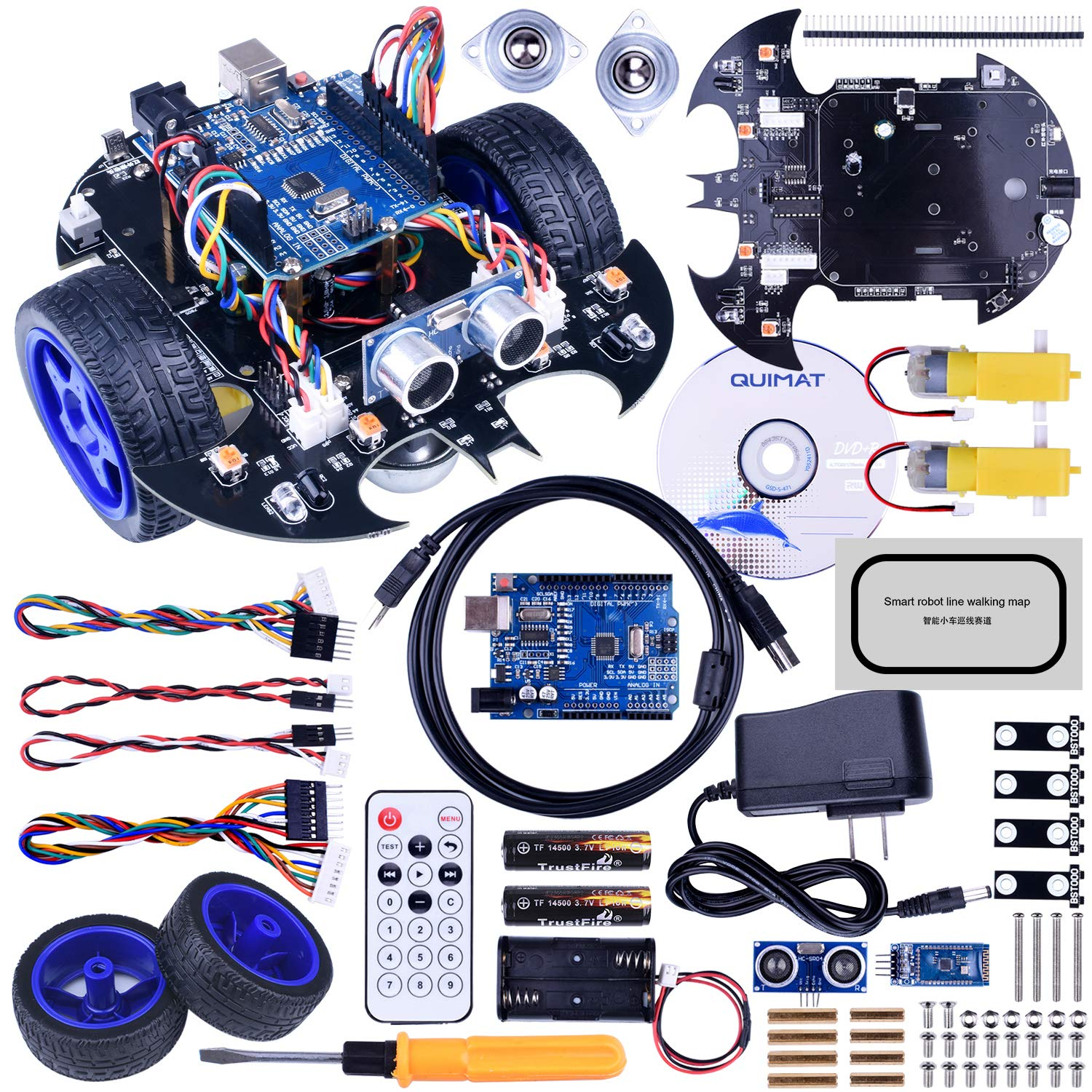 Quimat Smart Robot Car Kit competible with ArduinoIDE Projects, Includes Two-Wheel Drives,Tracking Module,Ultrasonic Sensor and Bluetooth Remote Control, Intelligent Car for Teens and Adult by Quimat