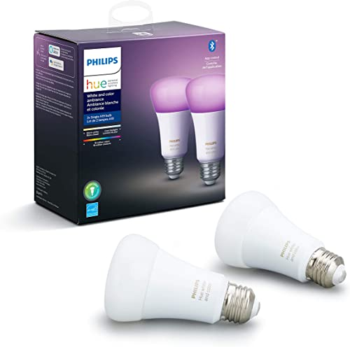 Philips Hue White and Color Ambiance 2-Pack A19 LED Smart Bulb