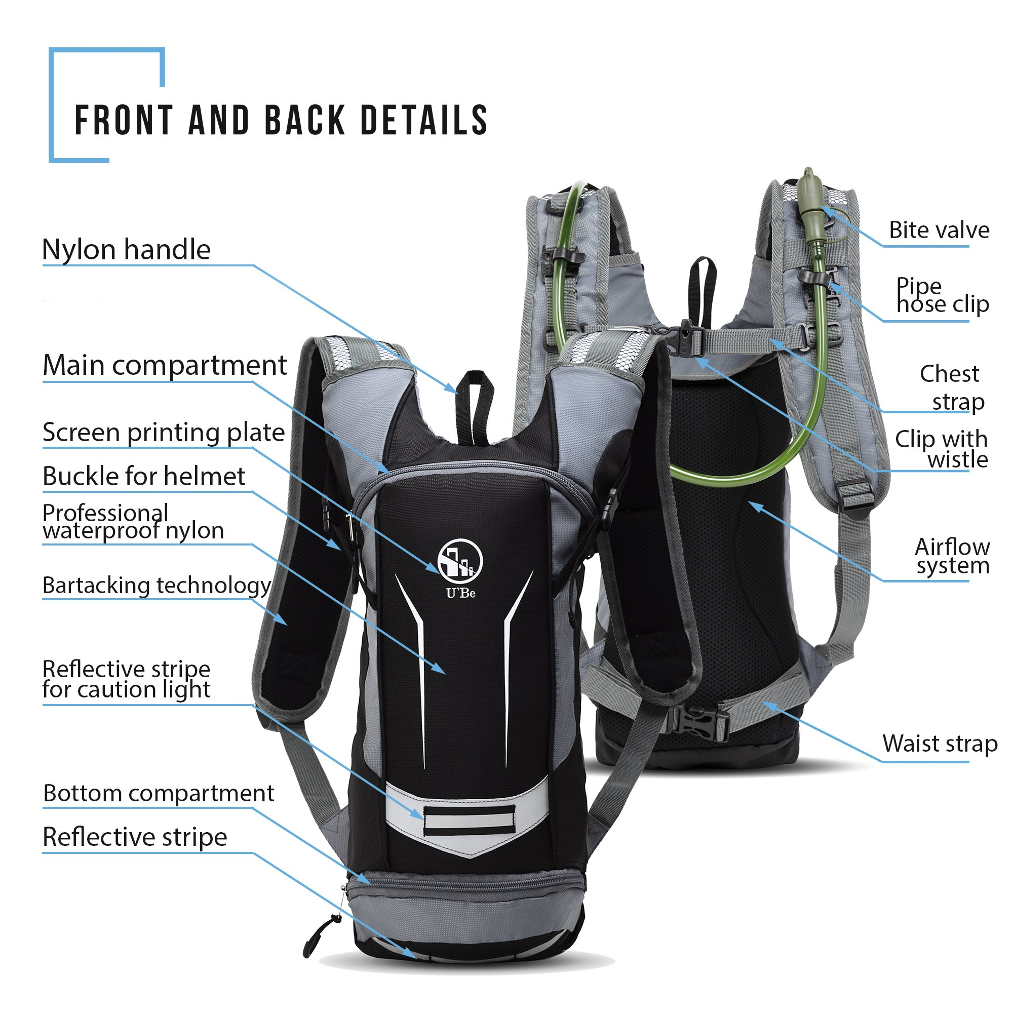 04a055e710 BPA Free Water Source Pack UBE Insulated Tactical Hydration Bladder for  Running Hiking Biking Cycling 2L ...