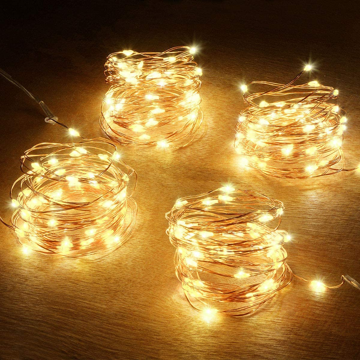 Abkshine Battery String Lights, 4 Pack 50 LED Warm White Battery-Powered Mini Christmas Fairy Lights, Battery Operated LED Lights for Christmas, Party, Wedding, Centerpiece, Bedroom Decoration