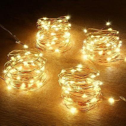 Abkshine Battery String Lights, 4 Pack 50 LED Warm White Battery-Powered Mini  Christmas - Amazon.com : Abkshine Battery String Lights, 4 Pack 50 LED Warm