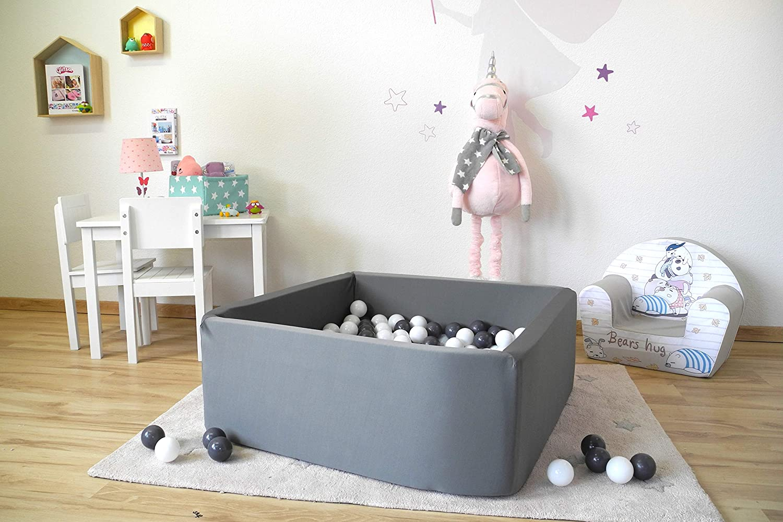100 balls grey//creme eckig dark grey B/ällebad soft Knorrtoys 68051