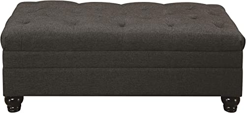 Roy Tufted Ottoman with Bun Feet Grey