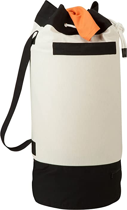 "Honey-Can-Do LDY-03277 Extra-Capacity Laundry Duffle Bag with Carrying Strap,Black/White,15.2"" x 15.2"" x 33.1"""