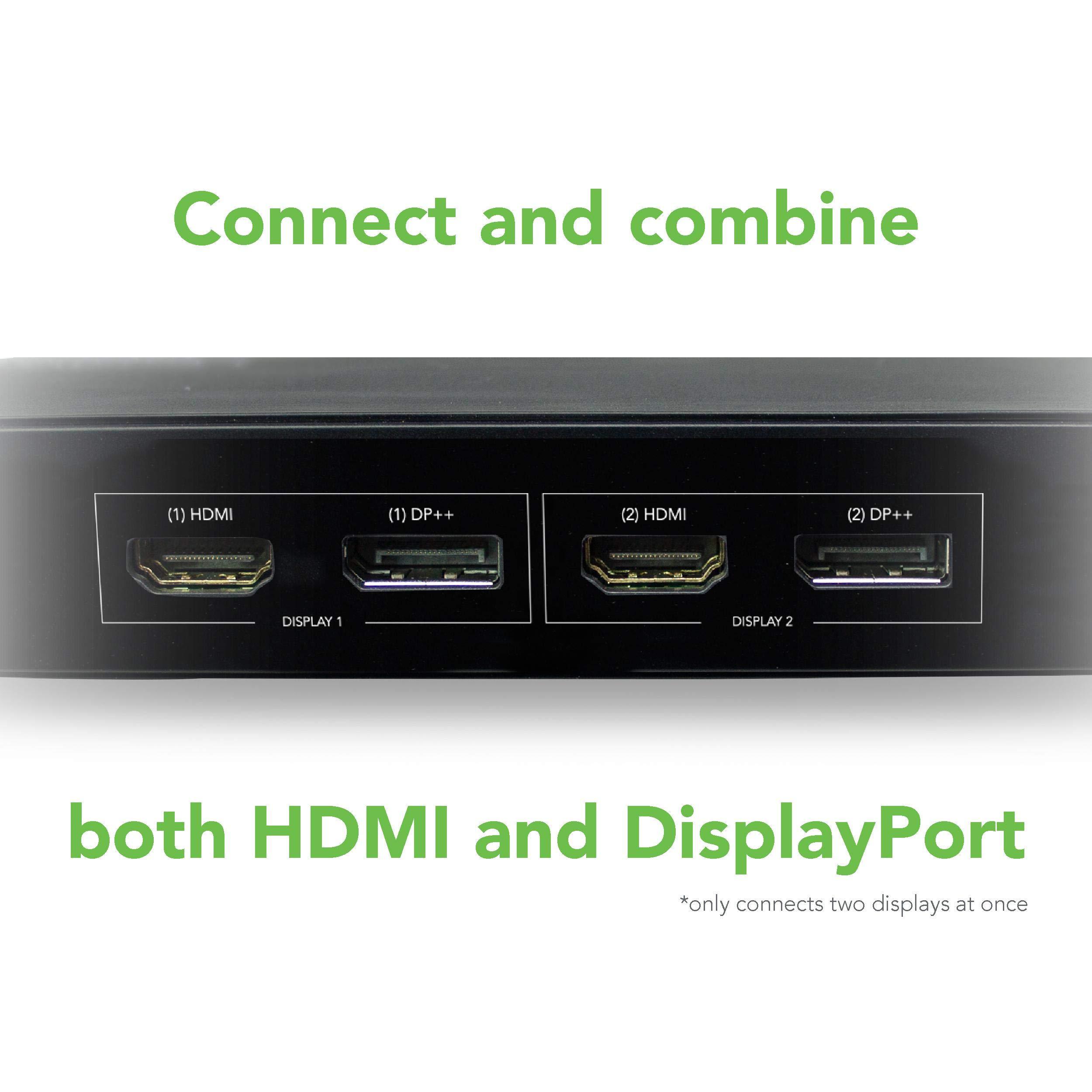 Plugable USB 3.0 Dual 4K Display Horizontal Docking Station with DisplayPort and HDMI for Windows (Dual 4K DisplayPort & HDMI, Gigabit Ethernet, Audio, 6 USB Ports) by Plugable (Image #3)