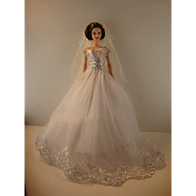 Amazing White Wedding Gown with Silver Details Veil Included Made to Fit Barbie Doll not included: Toys & Games