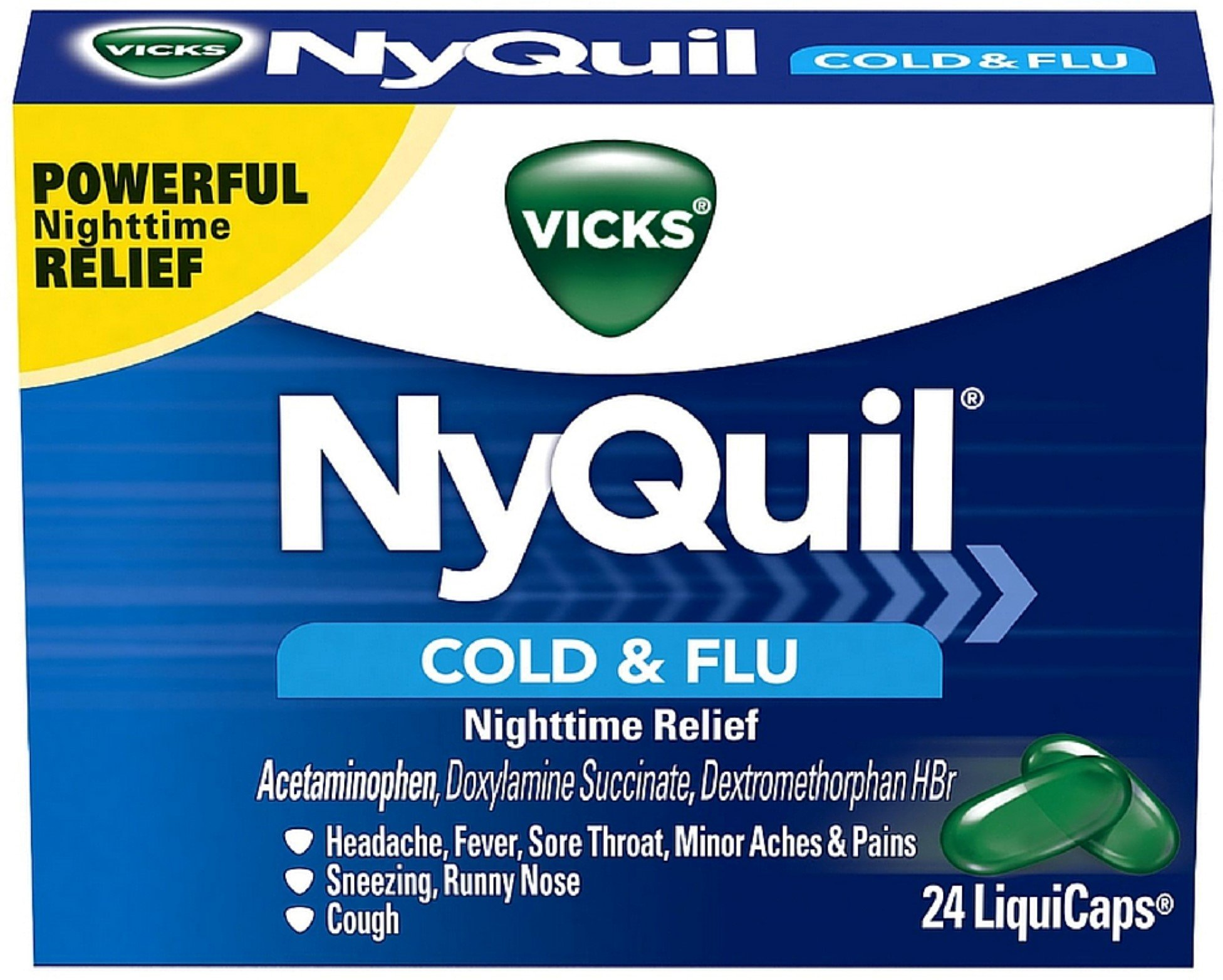 Vicks NyQuil Cold & Flu Nighttime Relief LiquiCaps 24 ea (Pack of 11)