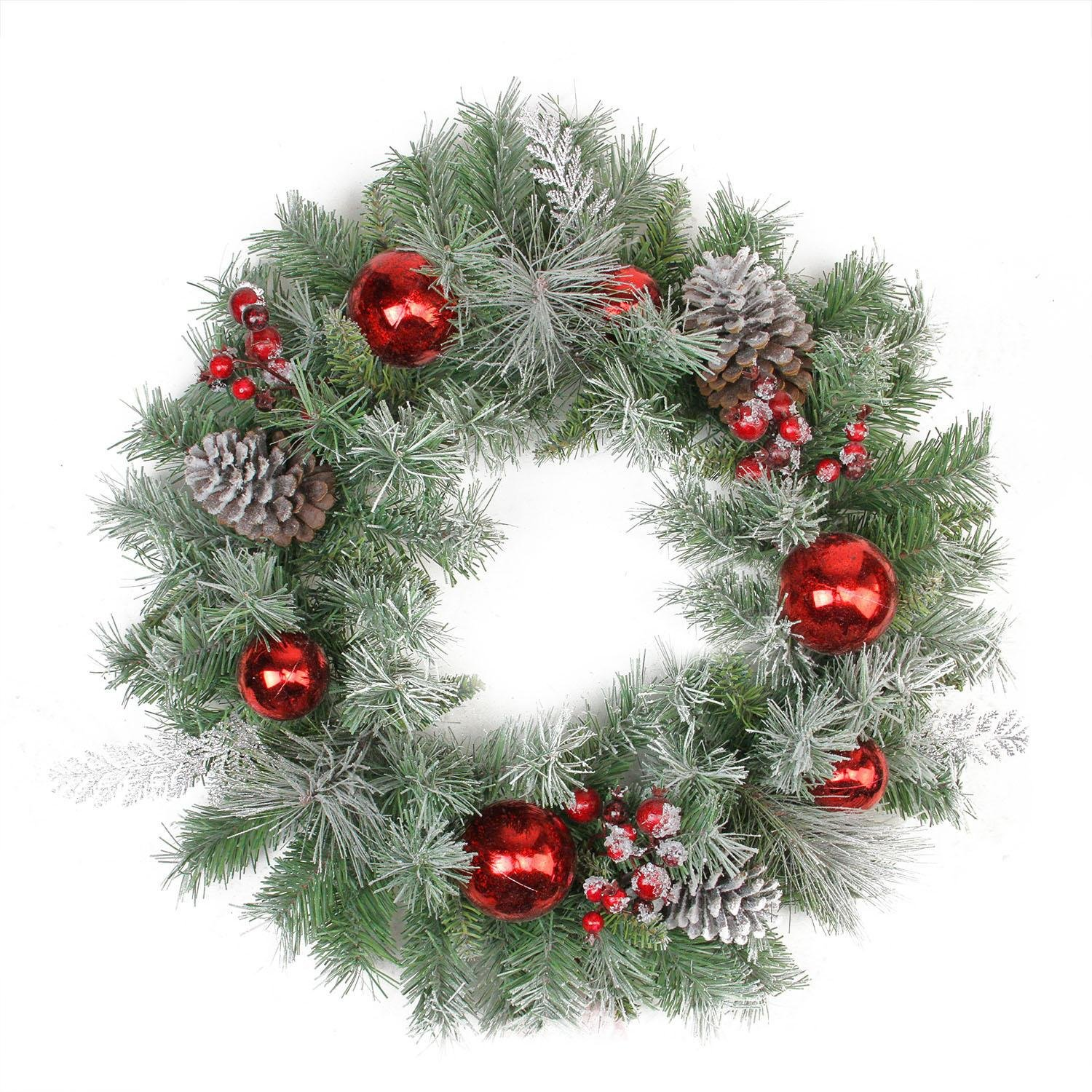 Artificial Flocked Pine and Silver Cedar Christmas  Wreath with Red Ball & Berries