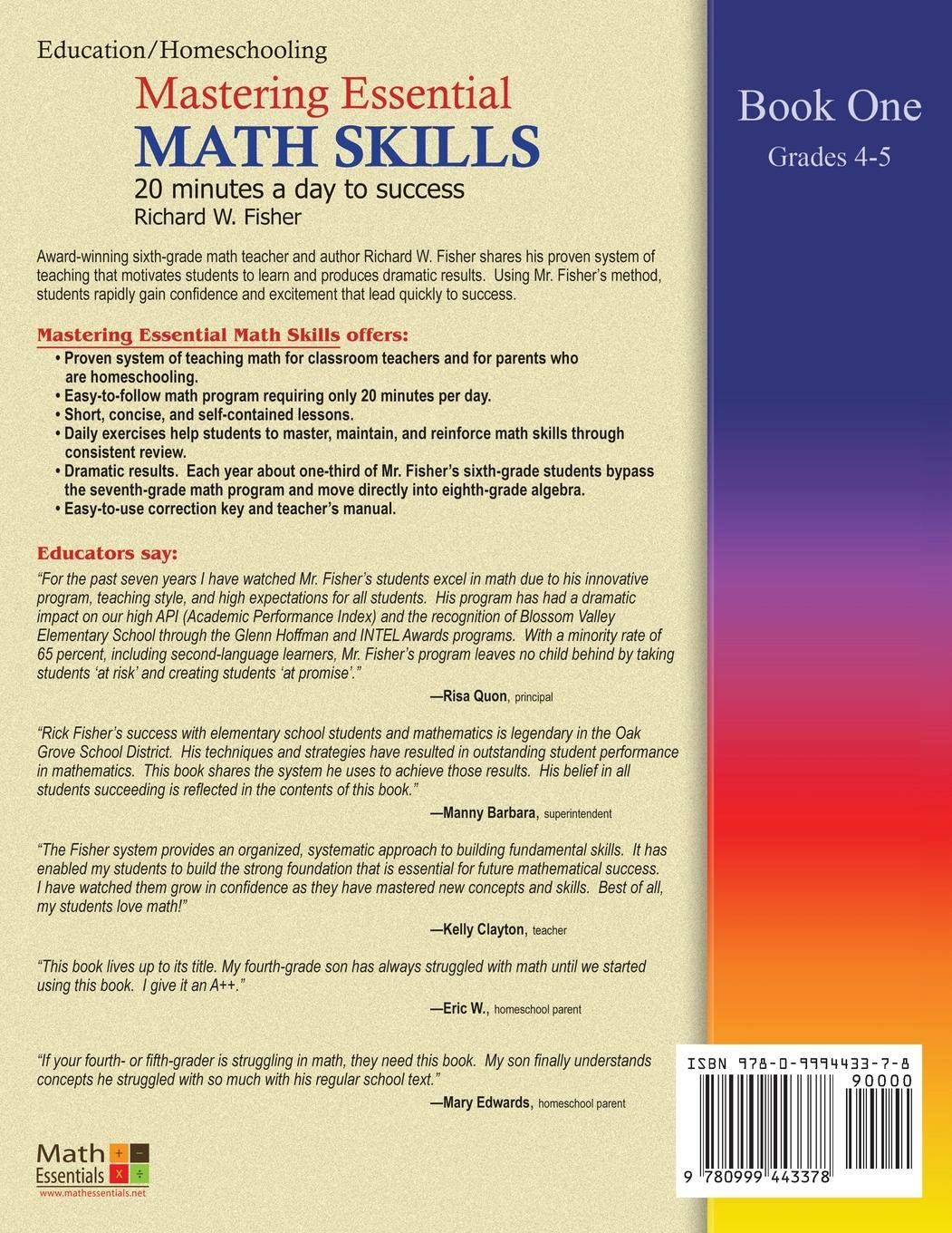 Mastering Essential Math Skills, Book 1: Grades 4 and 5, 3rd Edition: 20  minutes a day to success: Richard W Fisher: 9780999443378: Amazon.com: Books