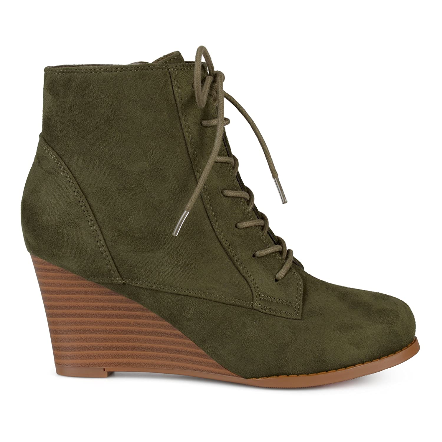45331437bf0 Womens Lace-up Faux Suede Stacked Wedge Booties
