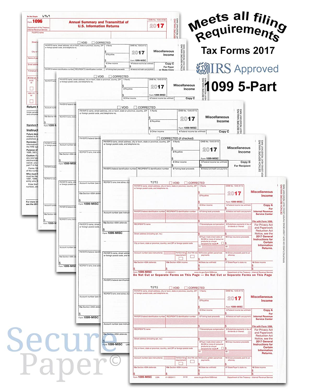 Amazon complete laser 1099 misc tax form set and 1096 kit amazon complete laser 1099 misc tax form set and 1096 kit for 25 vendors 5 part all 1099 forms in value pack 1099 misc 2017 office products falaconquin