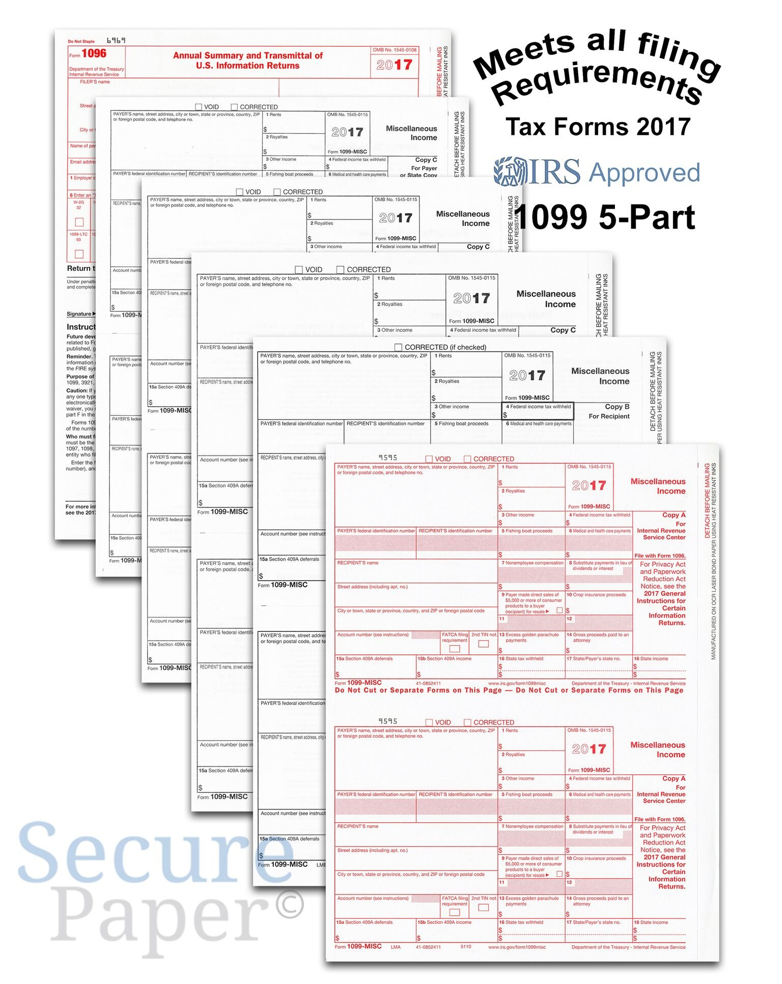 Complete Laser 1099 Misc Tax Form set And 1096 - Kit For 25 Vendors ~5-Part~ All 1099 Forms in Value Pack | 1099 Misc 2017