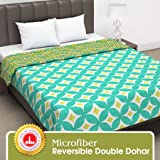 Divine Casa Twilight Abstract 110 GSM Microfiber All Weather Double Dohar -Yellow and Green