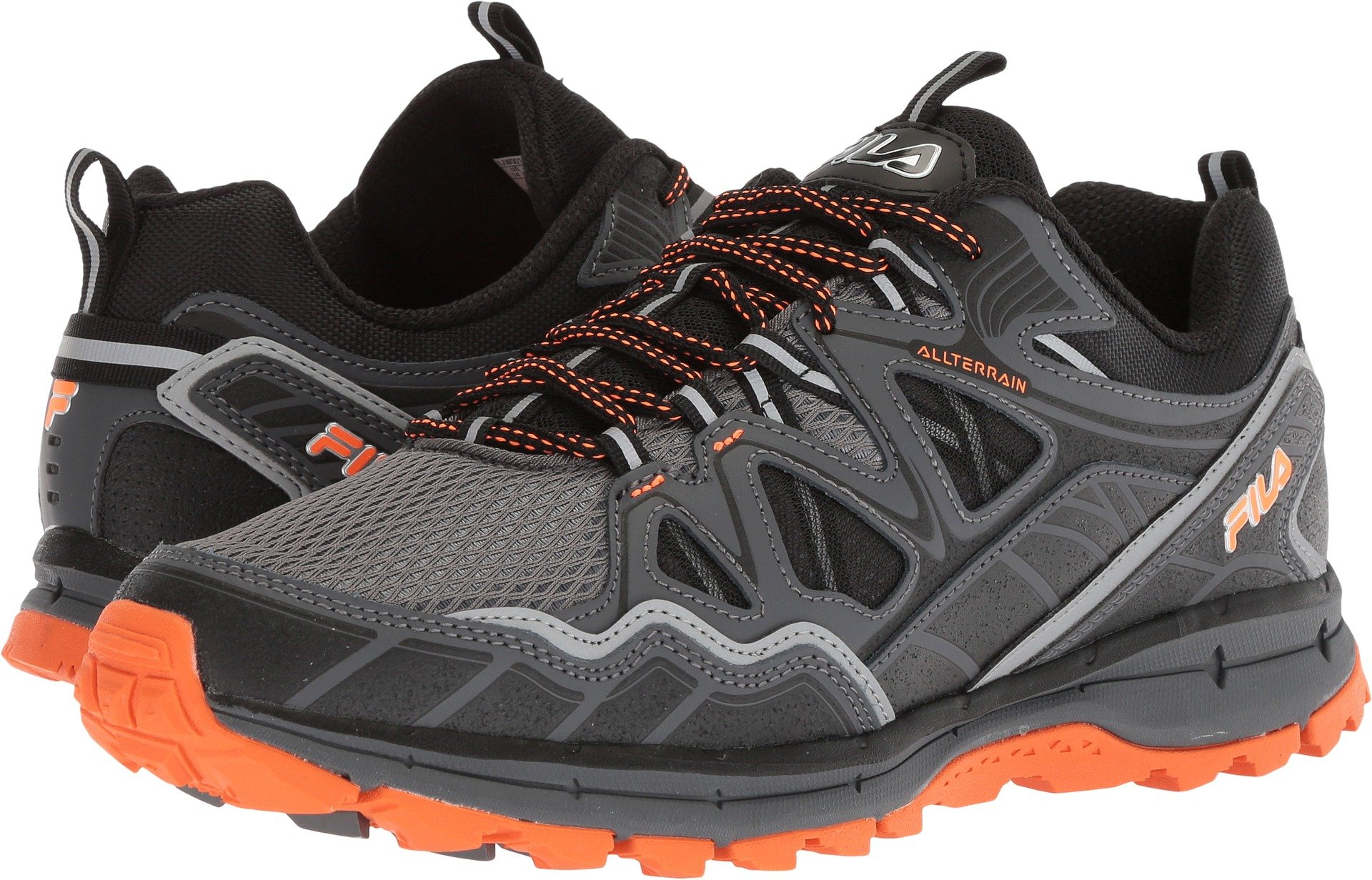 Fila Men's Memory TKO TR 5.0 Trail Running Shoe, Castlerock/Dark Shadow/Vibrant Orange, 9.5 Wide US