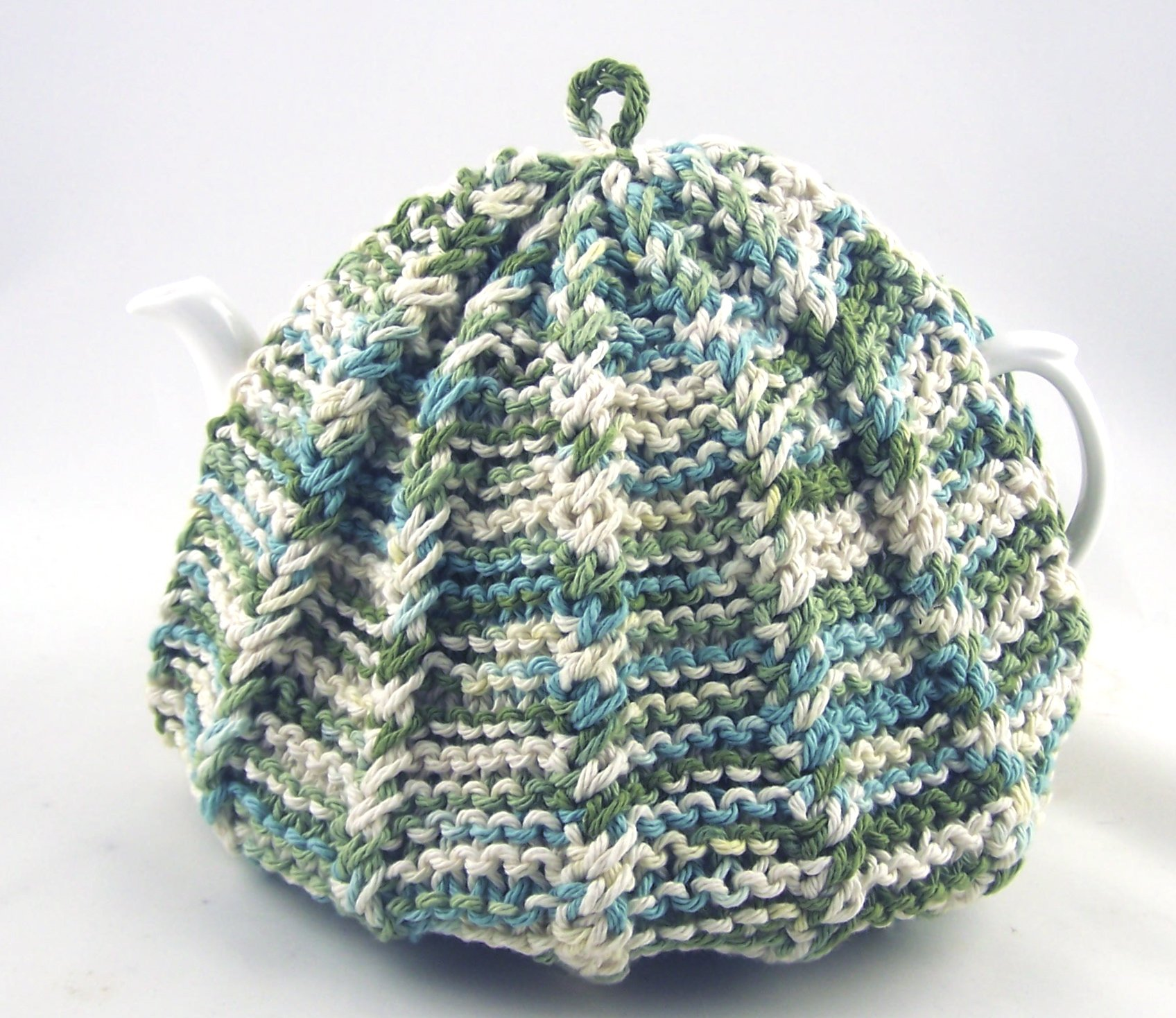 Knit Tea Cozy Cosy Handmade Washable Turquoise Blue and Green