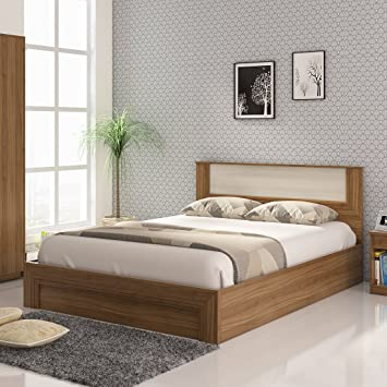 Spacewood Doric Queen Bed with Box Storage in Natural Teak Color Bedroom Furniture