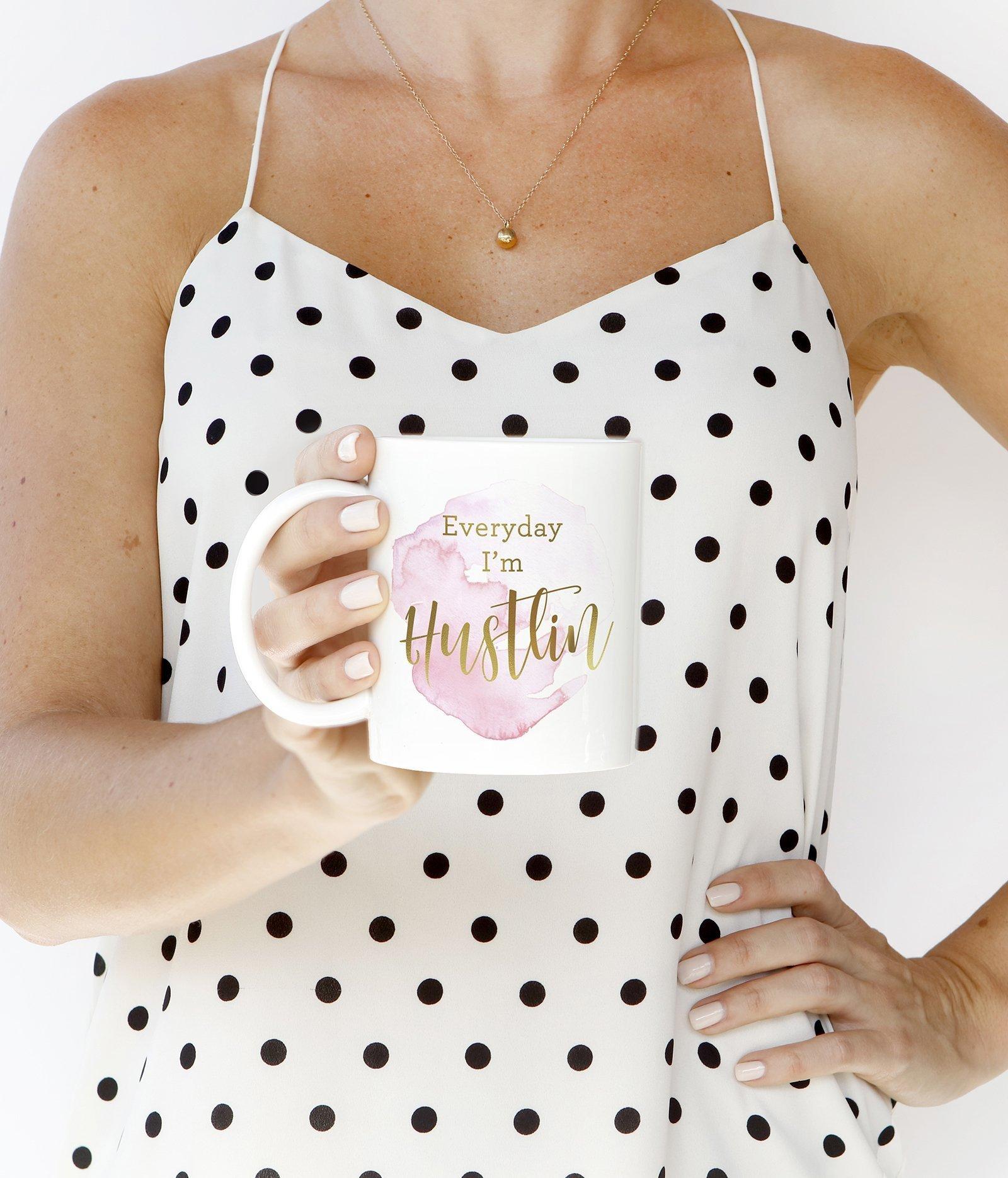 Everyday I'm Hustlin Coffee Mug Gift Idea for Motivation Encouragement Enthusiasm Inspiration Work Hard Hustle Boss Lady Girlboss Present 11oz Novelty Ceramic Tea Cup by Digibuddha DM0147