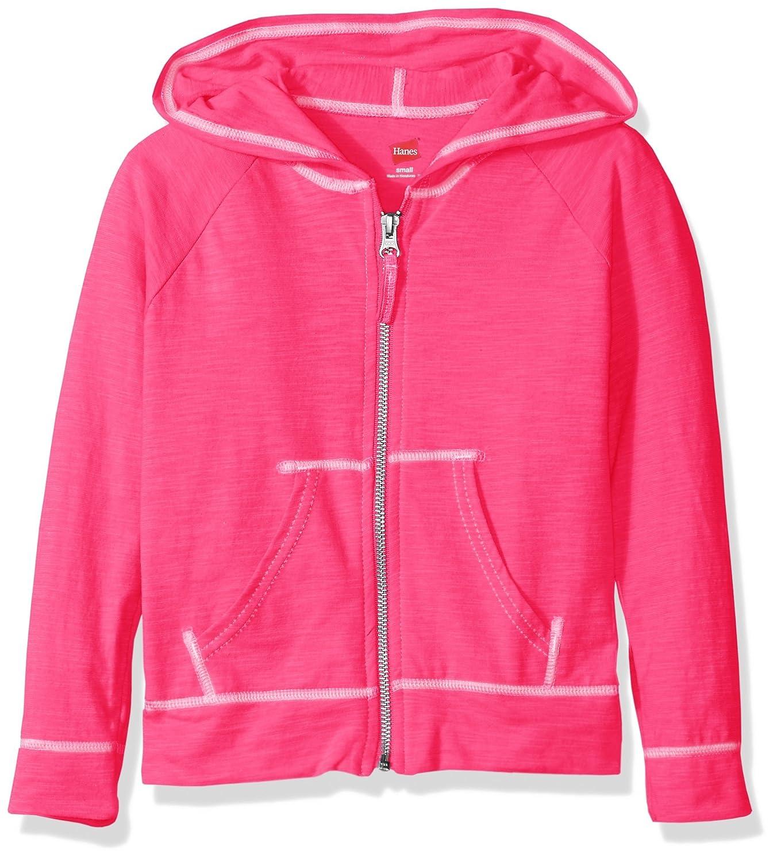 Hanes Little Girls Slub Jersey Full Zip Jacket