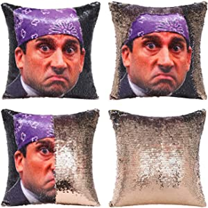 Nalosun The Office Prison Mike Flip Sequin Mermaid Pillow Cover Reversible Sequin Pillow Cover Christmas Decor Funny Cushion Cover 16x16 inches (Black-Champagne Gold)