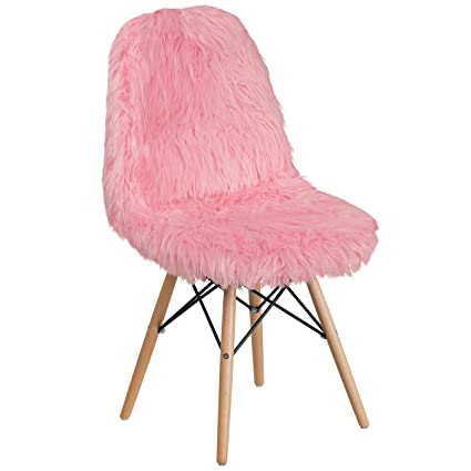 Amazon.com: Flash Furniture Shaggy Dog Light Pink Accent Chair ...
