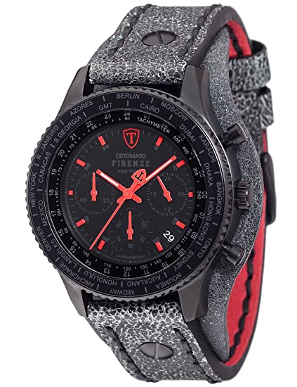 Detomaso Firenze - Reloj de Pulsera Retro con Cronógrafo, de Cuarzo, Acero Inoxidable DT1073-A: DETOMASO: Amazon.es: Relojes