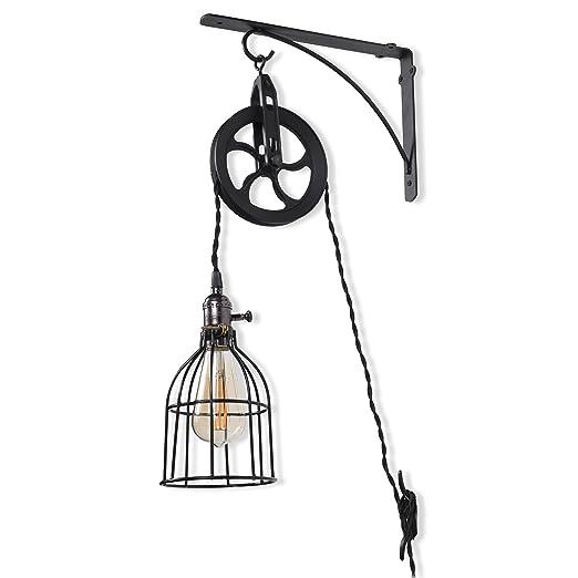 Amazon.com: Lámpara de pared con diseño de polea industrial ...