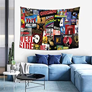 Tapestry Broadway Theatre Musical Poster Throw Tablecloth Hippie Trippy Wall Hanging Tapestries Art Home Decor for Bedroom Living Room Aesthetic 60 x 40 inches