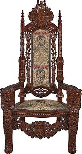 Best living room chair: Design Toscano The Lord Raffles Lion Throne Fabric Arm Chair
