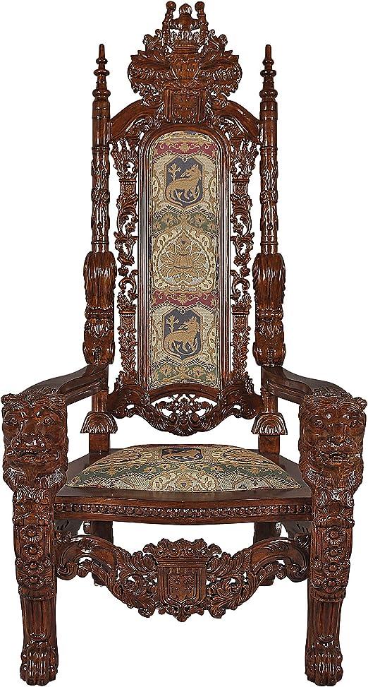 Design Toscano The Lord Raffles Lion Throne Fabric Arm Chair Furniture Decor