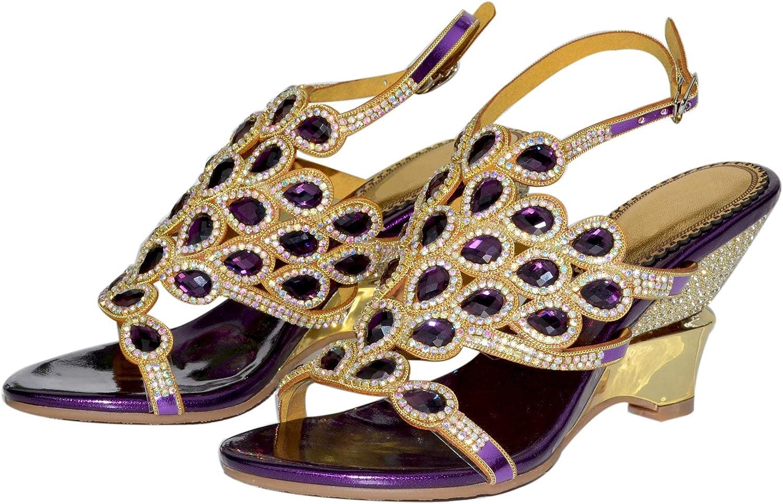 Sandales à Strass Confortables à Bout Ouvert pour Femmes Bride Cheville Mode Talons Hauts été Chaussures habillées de soirée de Mariage de fête L003 Violet Compensé
