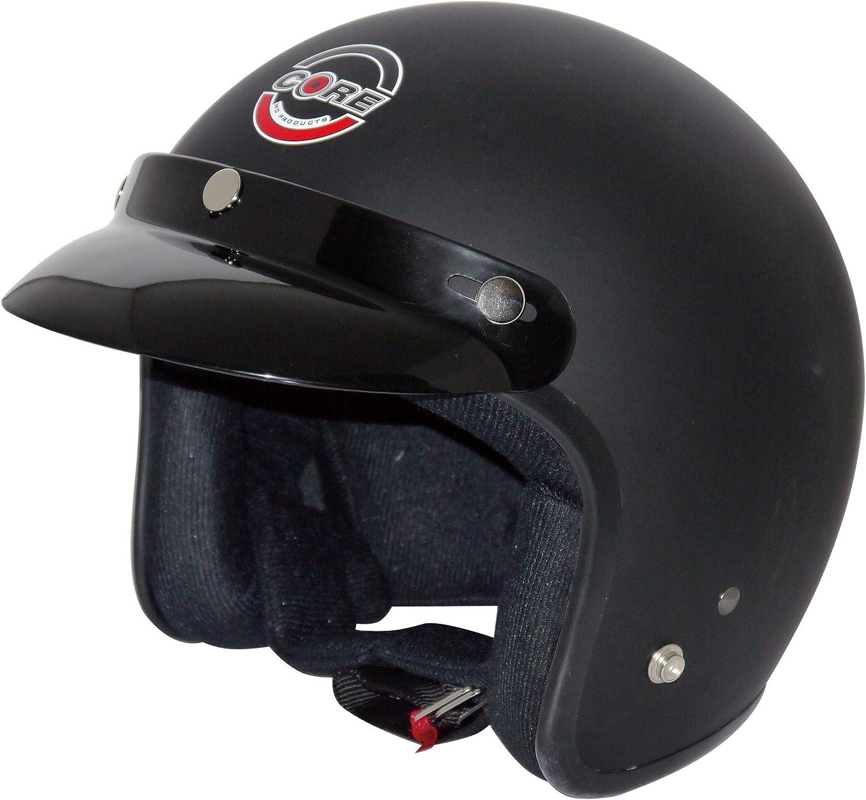Flat Black, X-Small Core Vintage Open Face Helmet