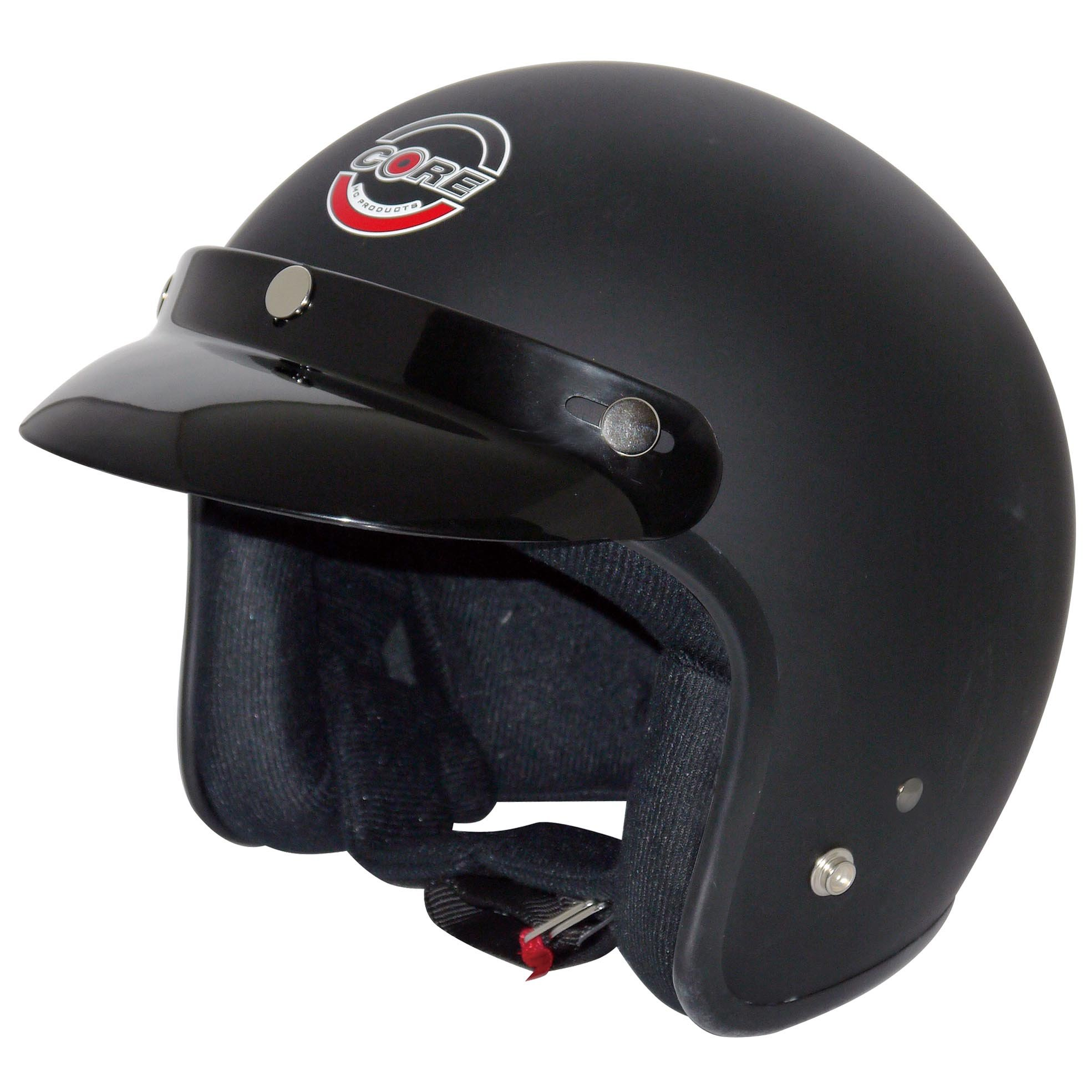 Core Vintage Open Face Helmet (Flat Black, Small)