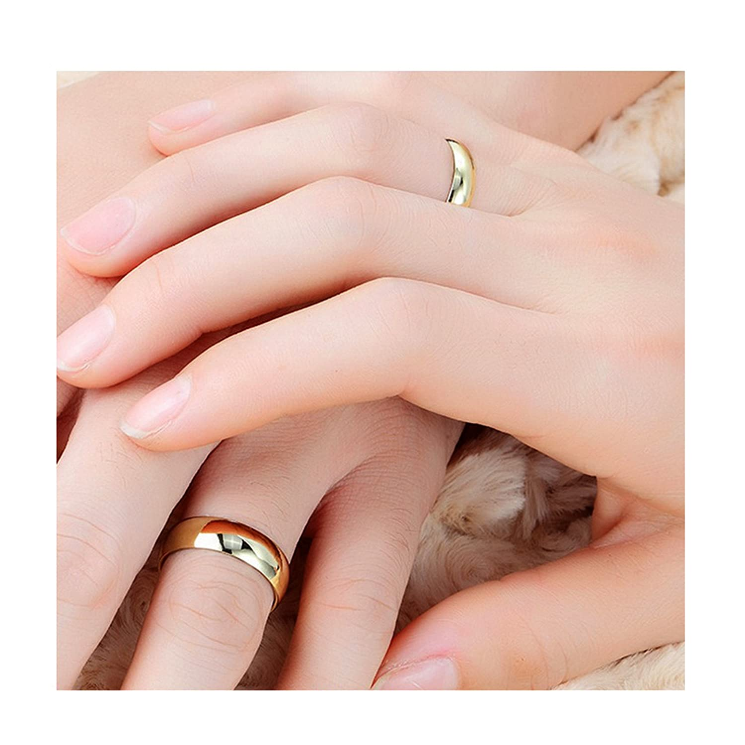 Spangel Fashion 18k Gold Couple Engagement and Wedding Plain Ring ...