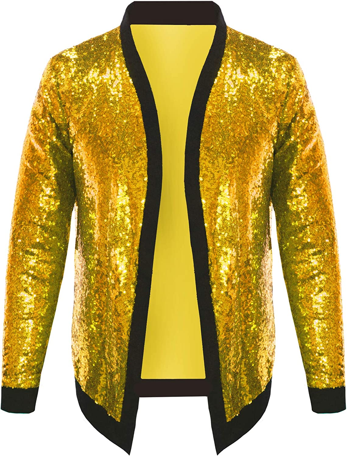 Pacinoble Mens Cardigan All Over Sparkle Sequin Open Front Long Sleeve Jacket with Ribbed Cuffs at  Men's Clothing store