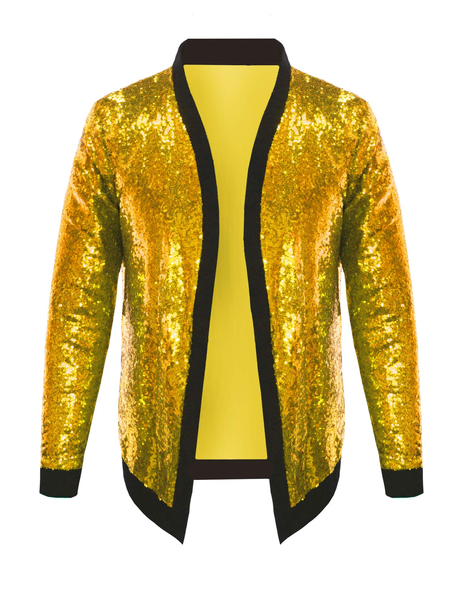 Pacinoble Men's All Over Sequin Jacket Long Sleeve Varsity Bling Bling Bomber Metallic Nightclub Styles Cardigan (Gold L) by Pacinoble