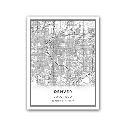 Amazon.com: Denver map poster print | Modern black and white wall