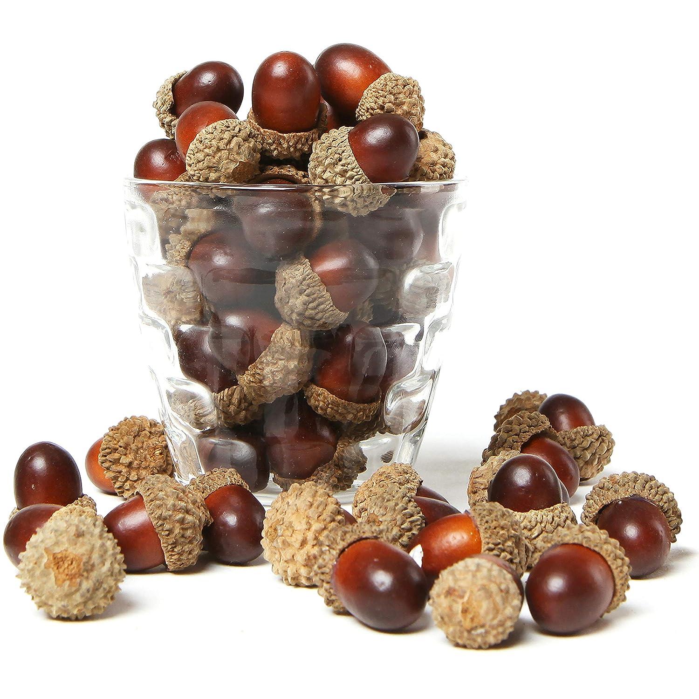 MyGift 100 Pieces Brown Assorted Artificial Acorn Caps, Autumn Vase Filler Decorations