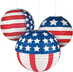Fun Express - Patriotic Flag Paper Lanterns for Fourth of July - Party Decor - Hanging Decor - Lanterns - Fourth of July - 12 Pieces
