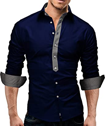 481c7d796ec29 MERISH Hombre Camisas de vestido elegante de Manga Larga Slim Fit Modell 11   Amazon.es  Ropa y accesorios