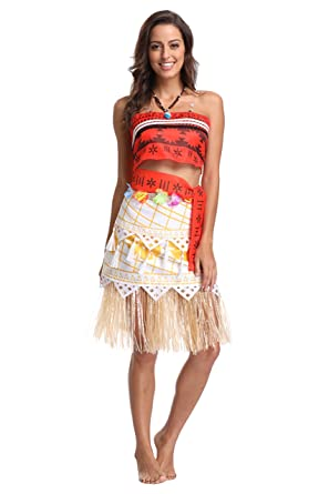 9eb1e22bc Quintion Anneao Kids Women's Adventure Outfit Polynesian Dress Halloween  Costumes with Necklace 2T-3T/