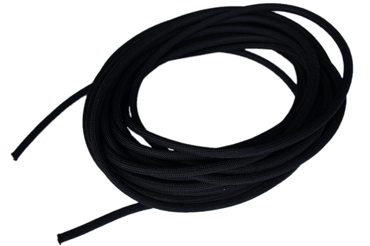 "3/8"" x 25' Black Shock Bungee Rubber Rope Cord - Woven Jacketed"