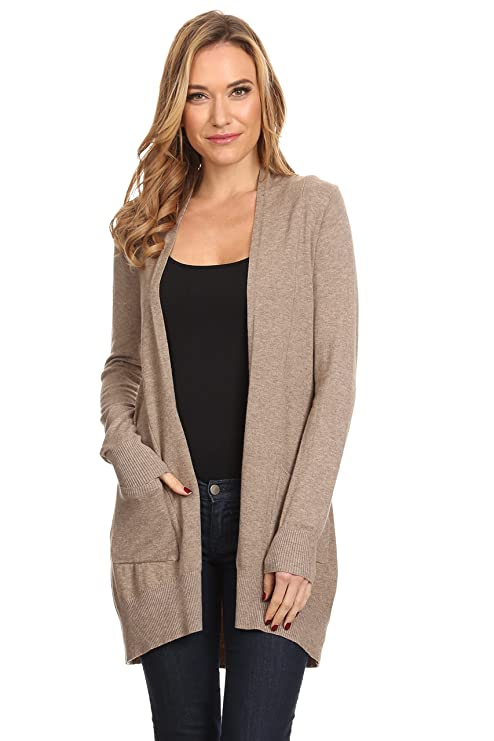 A+D Womens Basic Open Front Knit Cardigan Sweater Top W/Pockets (Mocha, Small/Medium)