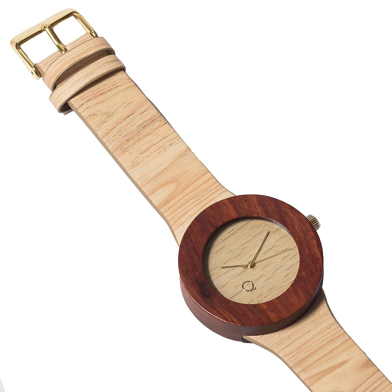 seQoya - Colorado | Reloj de Madera con Esfera de Madera y Correa de Piel ecológica simulando Madera Estampada | Reloj Hombre y Mujer | Diseño único y ...