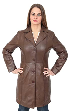 Ladies Fitted 3/4 Length Real Leather Jacket Womens Mac Style Coat ...